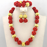 Charming Red African Crystal Beads Balls Jewelry Set Gift Jewelry Set