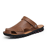 Fashion Men Sandals Men Slippers Genuine Leather Loafers Summer Shoes Slip On Men