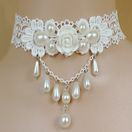 Ladies' Alloy Necklace With Imitation Pearl