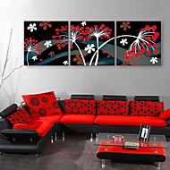 e-home® strukket lerret kunst blomst dekormaling sett med 3