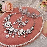 Takı Seti Kadın's Düğün Mücevher Setleri alaşım / Yapay Elmas Yapay Elmas Kolczyki / Taçlar / Kolyeler Gümüş