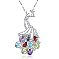 Women's Sterling Silver Necklace With Garnet Blue Topaz Peridot Sapphire Amethyst SH0002P