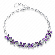 Women's Sterling Silver Bracelet with Amethyst SA0007B