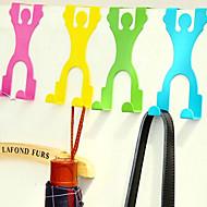 forma humana inoxidável sobre ganchos de porta de armário roupas pothook (cor aleatória)