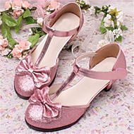 Girls' Shoes Dress/Casual Round Toe Faux Leather Pumps/Heels Blue/Pink/Silver
