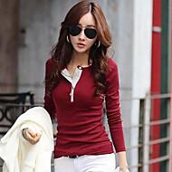 couleur unie mince t-shirt coupe décontractés pour femmes, manches longues, plus la taille