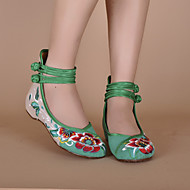 Women's Spring Summer Fall Canvas Casual Flat Heel Buckle Black Green Red