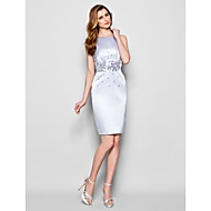 Sheath/Column Plus Sizes / Petite Mother of the Bride Dress - Silver Knee-length Sleeveless Satin