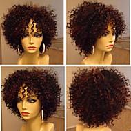 16 인치 브라질 처녀 변태 곱슬 자연 색상 머리 레이스 앞 가발