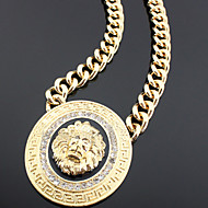 Women's Alloy Big Lion Head Necklace with Vary Enamel