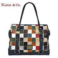 Kate&Co Women's  Real Leather Ostrich Texture patchwork Shoulder Bag Tote