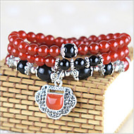 Women's Natural Agate Beads Collection Bracelet