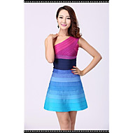 Cocktail Party Dress - Multi-color Petite Sheath/Column One Shoulder Short/Mini Nylon Taffeta
