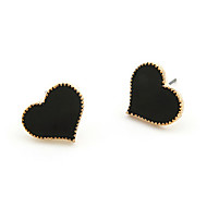 Fashion Golden Edge Sweet Love Heart Earrings