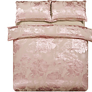 Mingjie Jacquard Light Pink Flowers Bedding Sets 4PCS for Twin Full QueenSize from China Contian 1 Duvet Cover 1 Flatsheet 2 Pillowcases