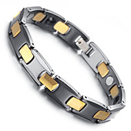 "Mens Tungsten Bracelet, Black & Gold , 7.9"" kb1536"