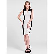 Cocktail Party Dress - Clover/White Sheath/Column V-neck Knee-length Cotton