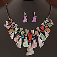Women's European Style Fashion Painted Metal Simple Necklace Earrings Set