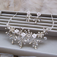 Fashion Silver Color With White Rhinestone And Crystal Wedding Necklace And Ear Clip Sets D0380AJ