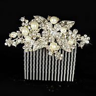 Vintage Bridal Bridesmaid Diamond/Rhinestone/Crystal Freshwater Pearls Leaf Rose Flower Bridal Hair Comb For Women