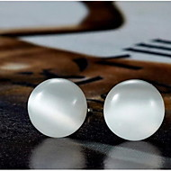 Women's Silver Stud Earrings With white Opal