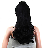High Quality Claw Clip Synthetic 22 Inch Long Curly Ponytail Color Black