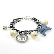Cotton Tree Bowknot Silver/Pearl/Alloy/Acrylic Charm/Chain/Strand With Pearl/Rhinestone Bracelet