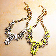 Crystal Short Alloy Necklace(color 2)(1Pc)