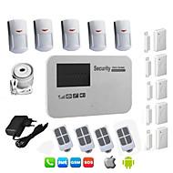 ladrón androide sistema de alarma GSM de la tarjeta SIM con cable inalámbrico para seguridad de la casa hogar con detector de 5 pir,