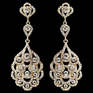 Vintage Women's Round Earrings Diamond Long Gold Earring For Wedding Bridal