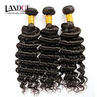 "3Pcs Lot 12""-30"" Unprocessed Mongolian Deep Wave Curly Virgin Hair Wefts Natural Black Raw Remy Human Hair Weave Bundles"