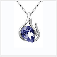 925 Silver Angel Eyes Pendants Chain Necklace With Crystal