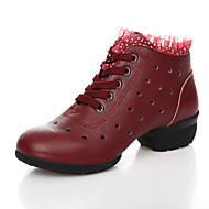 Women's Dance Shoes Sneakers Breathable Leather Low Heel Black/Red/Beige