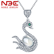 NBE Sterling Silver/Crystal/Gem Prehnite Swan Necklace Pendant Necklaces/Chain Necklaces Wedding/Party/Daily/Casual 1pc