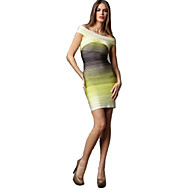 Alice&Elmer Rayon Short/Mini Off The Shoulder Gradient Sheath/Column Bandage Dress