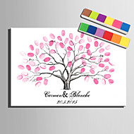 E-HOME® Personalized Fingerprint Painting Canvas Prints - Pink Tree (Includes 12 Ink Colors) Coral Wedding