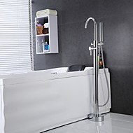 Contemporary Floor Mounted Handshower Included / Floor Standing with  Ceramic Valve Single Handle One Hole for  Chrome , Bathtub Faucet