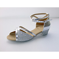 Women's/Kids' Dance Shoes Latin Leatherette/Paillette Flat Heel Blue/Pink/Silver/Gold