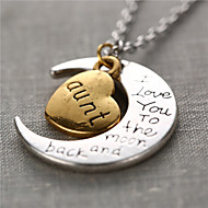 Zinc Alloy Heart and Moon Anut I Love You to the Moon and Back Necklace