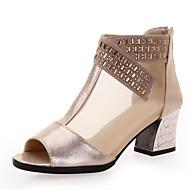 Chaussures de danse(Noir Or) -Non Personnalisables-Talon Bottier-Cuir-Moderne Salon