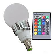 3W E14 נורות גלוב לד 3 lm RGB עמעום / עובד עם שלט רחוק / דקורטיבי AC 100-240 V חלק 1