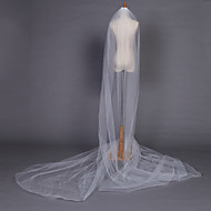 Wedding Veil One-tier Chapel Veils Pencil Edge 204.72 in (520cm) Tulle White / Ivory