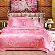 Floral Cotton / Tencel 4 Piece Duvet Cover Sets
