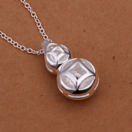 Fahion Cucurbit Shaped Silver Plating Gem-set Chain Necklace Contracted Blocks Zircon Silver Necklace(Silver)(1Pc)