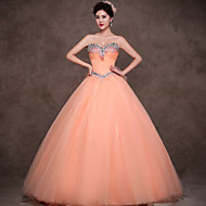 Formal Evening Dress - Orange Petite Ball Gown Sweetheart Floor-length Satin / Tulle / Polyester