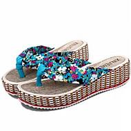 Women's Shoes Wedge Heel Flip Flops Slippers Dress Black/Blue/Beige
