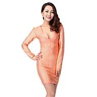 Cocktail Party Dress - Orange Petite Sheath/Column V-neck Short/Mini Spandex / Rayon / Nylon Taffeta