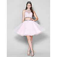Homecoming Cocktail Party Dress - Candy Pink Ball Gown Jewel Short/Mini Tulle