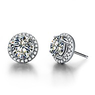 Halo Paved Around 2CT/Piece Sterling Silver Earrings Stud SONA Simulate Diamond Stud Earrings for Women Platinum Plated