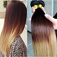 3kpl / paljon ombre hiustenpidennykset kolme sävy 1b / 4/27 Brasilian neitsyt hiukset suorat hiukset kutoa